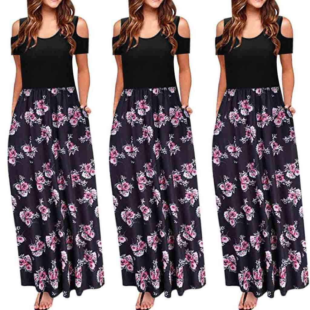 USStore Women Sundress Cold Shoulder Short Sleeve Floral Print Elegant Casual Pocket Splice Slim Beach Party Maxi Dress