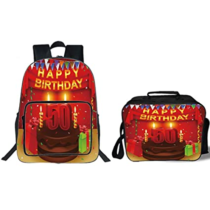 IPrint 19quot School Backpack Lunch Bag Bundle50th Birthday DecorationsChocolate Cake