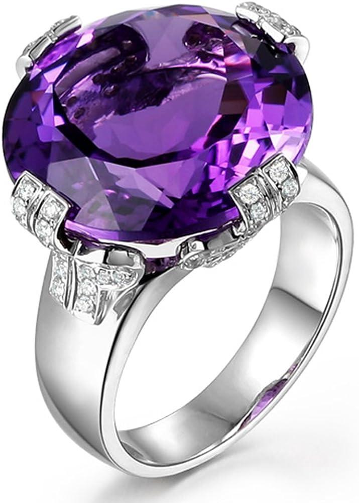 Morado Amatista Piedra preciosa February Piedra natal Real Diamante Sólido 14K Oro blanco Compromiso Boda para Mujer Anillo Conjuntos