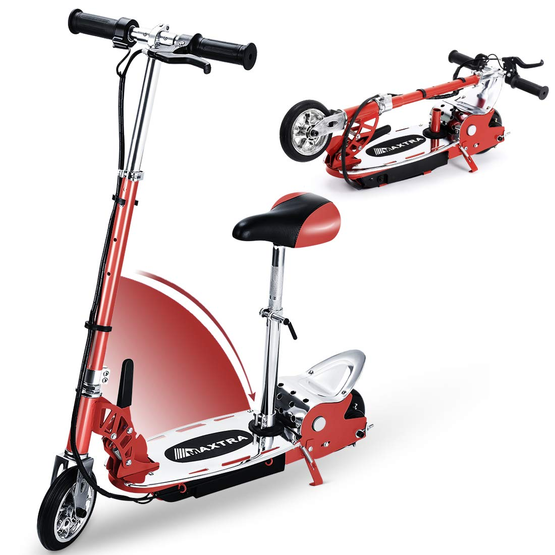 Overwhelming Upgrade E120 Adjustable Handlebar Height and Seat Folding Electric Scooter with Removable Seat for Kids,177lbs Max Weight Capacity Motorized Bike, up to 10 mph by Overwhelming