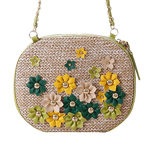 Zhhlaixing Retro Grass Turf Knotted Rivets Crocheted Flowers Woven Bag Beach Bags Bolsa hermosa especial for Women Brown