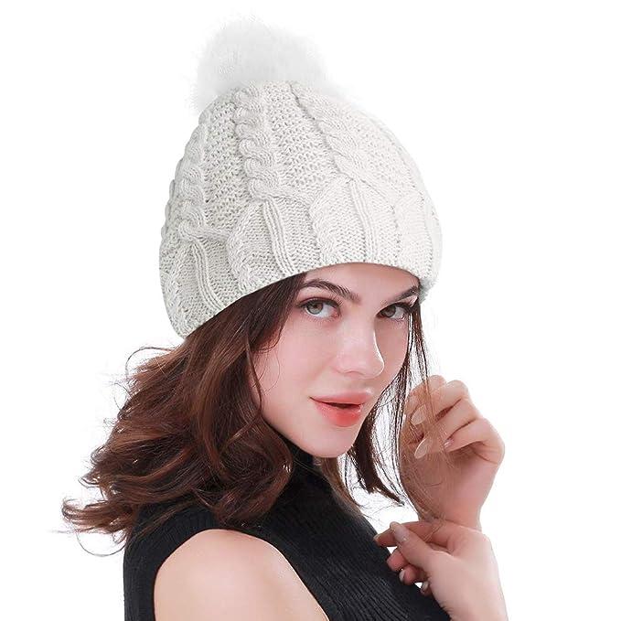 Gorro Invierno Mujer Gorro de Punto Sombrero de Invierno Cálido ...