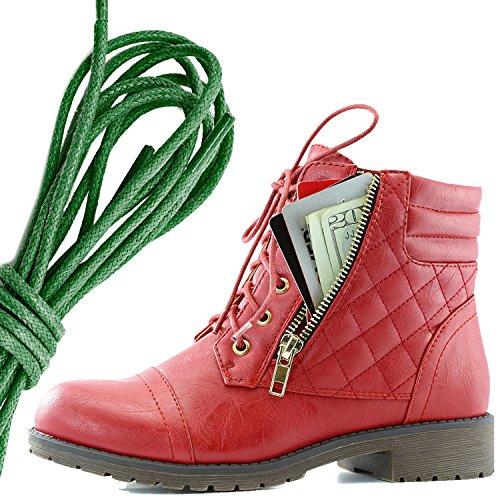 Dailyshoes Donna Militare Allacciatura Fibbia Stivali Da Combattimento Alla Caviglia Alta Tasca Esclusiva Per Carte Di Credito, Verde Scuro Rosso Pu