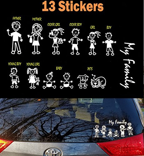[TOTOMO 13 Stick Figure My Family & Pet Dog Cat Stickers (Style#1) for Car Windows Bumper Vinyl] (Zombie Family Decals)
