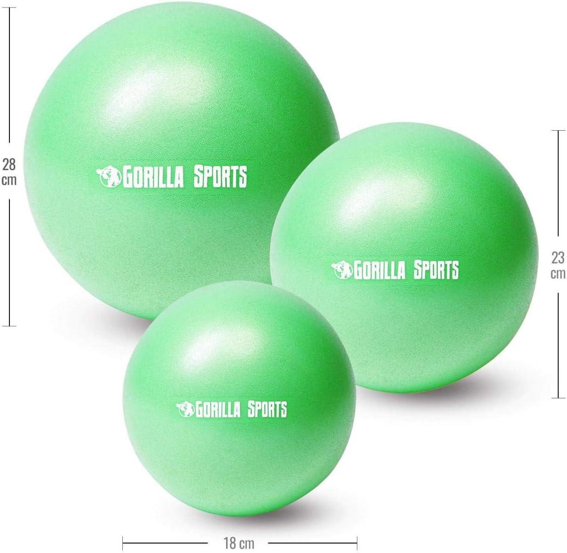 GORILLA SPORTS/® Pilates Ball 18 cm 28 cm rutschfest 23 cm Mini Gymnastikball aus PVC in 3 Gr/ö/ßen und 7 Farben
