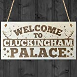 Hermosaa Welcome To Cluckingham Palace Novelty Wooden Hanging Plaque Chicken Hen Hutch Coop Farmers Sign 4″x8″ Review