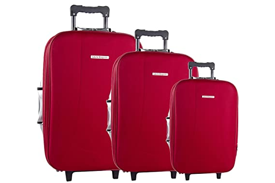 Superieur 3 Piece Semi Rigid Luggage Set LAURA BIAGIOTTI Red Cabin Baggage VS48