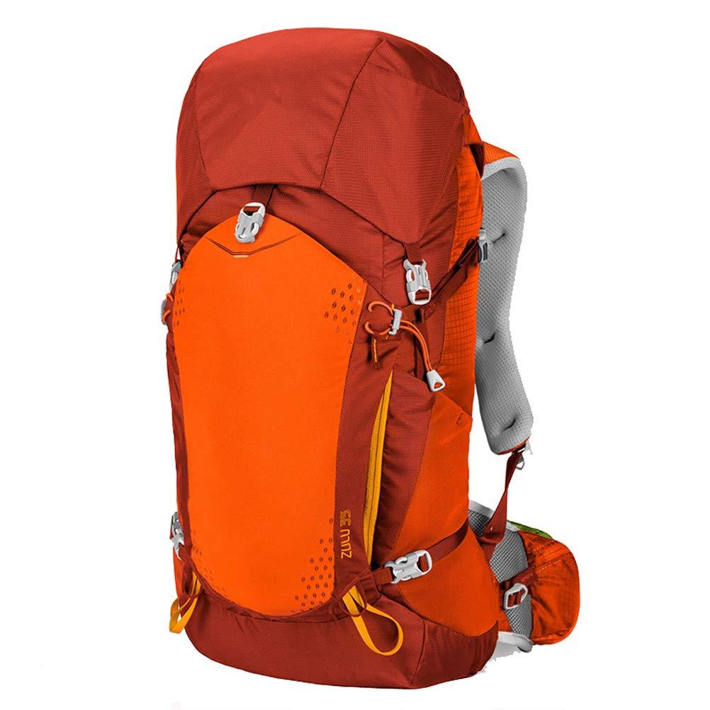 35lアウトドアスポーツバックパックキャンプハイキング防水リュックサック登山バッグ付きレインカバー旅行用トレッキング  Orange B07RGN94N6