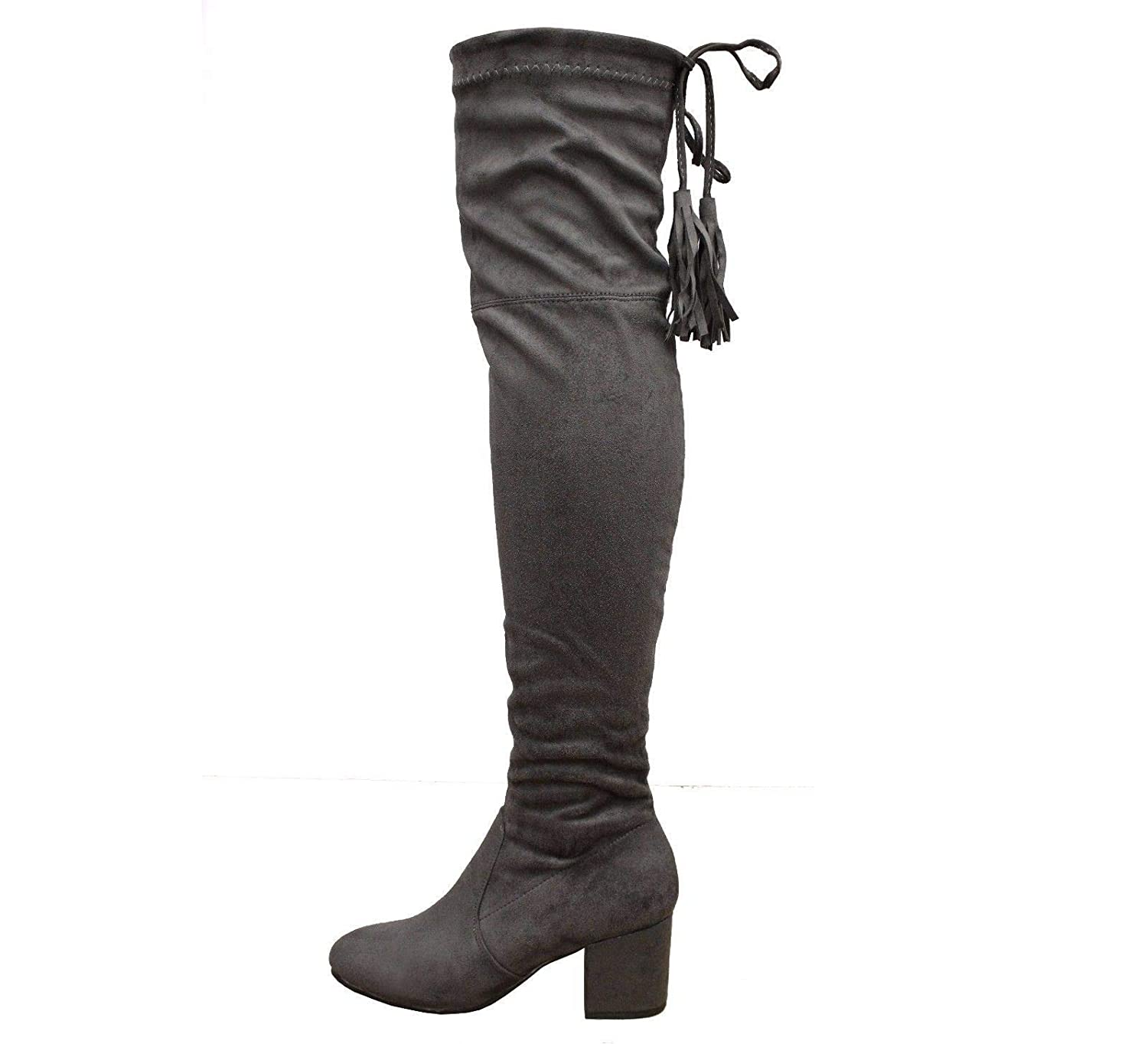 f67ba66ee7fe Womens Block Mid Heel Thigh High Over The Knee Wide Calf Boots Size 3-8   Amazon.co.uk  Shoes   Bags