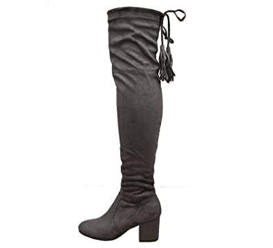 930491876d8 Womens Block Mid Heel Thigh High Over The Knee Wide Calf Boots Size 3-8