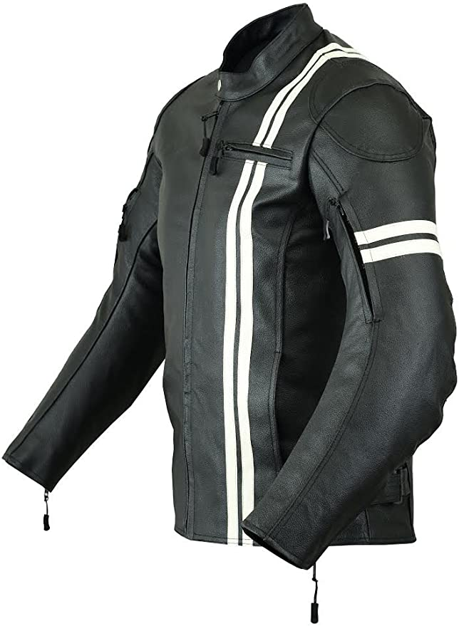 NATURAL GRAIN S WITH EXTERNAL ARMOURS BLACK JACKET MBJ-1728A Men,s MOTORCYCLE ARMOURED PERFORATED LEATHER