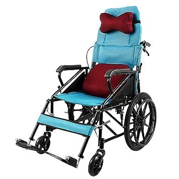 HSRG Silla de Ruedas semireclinable Plegable con Respaldo Alto Desmontable, Carrito de Viaje portátil para Ancianos: Amazon.es: Deportes y aire libre