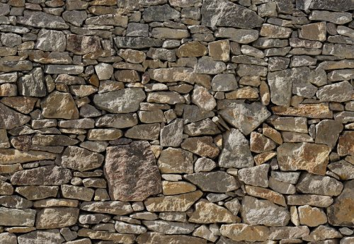 Stone Wall Huge Wall Mural 8-727 by Komar 12 Feet Wide x 8 Feet 4 Inch High Photo - 8 Photo Panel Mural Wall