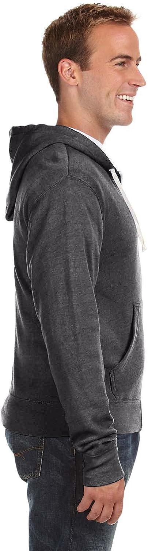 J America JA8872 Triblend Full-Zip Fleece Hood Black Triblend