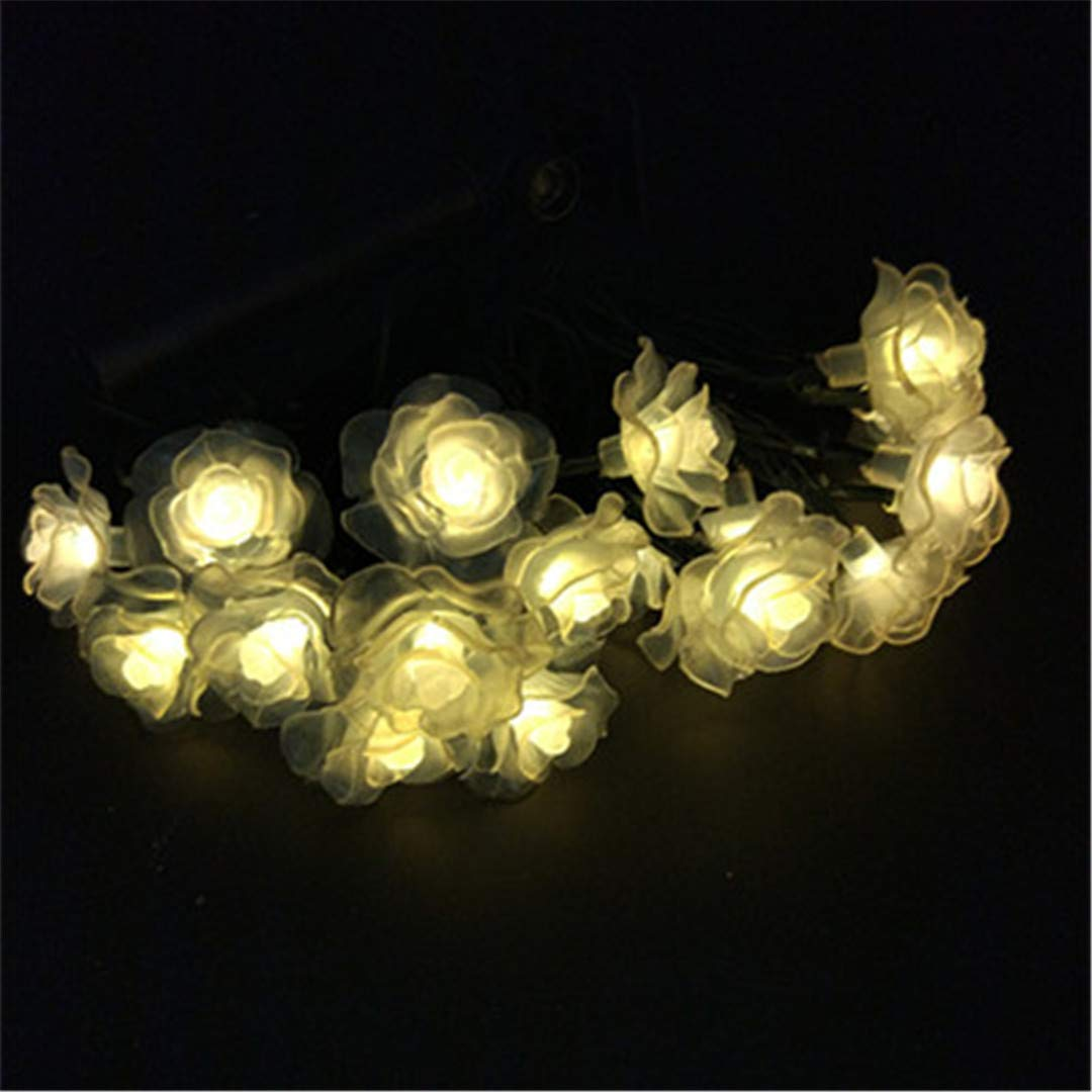 BGFHDSD 4Pcs Economic Bundle Romantic Solar Outdoor LED Holiday Wedding Garden Decoration String Light Lamp Calido Blanco Rosas Warm White 7m 50 Roses