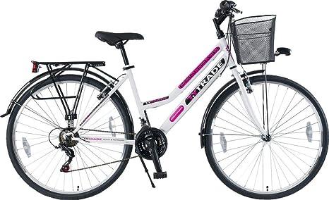 Bicicleta de ciudad para mujer de Shimano; color blanco, 18 marchas, 28 pulgadas: Amazon.es: Deportes y aire libre