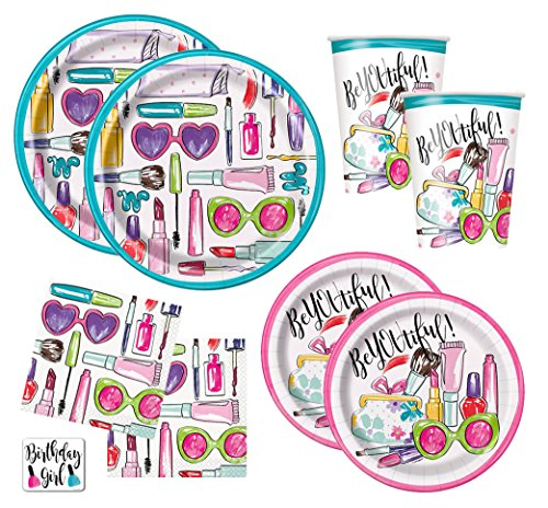 Girls Spa Makeup Birthday Party Supplies Pack - Dinner Plates, Cake Plates, Napkins, Cups (Standard - Serves (Girl Party Plates)