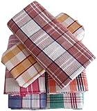 Bombay Dyeing Waffle Cotton Large Bath Towel(72cm x 144cm)- Set Of 6 Pieces (6912, Blue/Pink/Green/Orange/Brown)