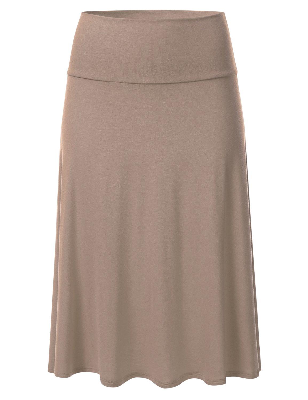 FLORIA Womens Solid Lightweight Knit Elastic Waist Flared Midi Skirt Mocha L