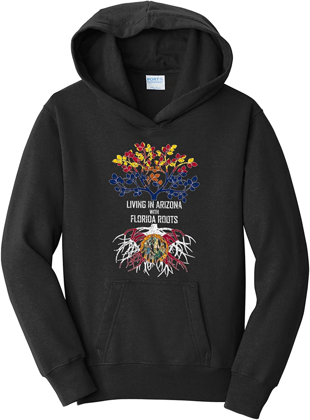 Tenacitee Girls Living in Arizona with Florida Roots Hooded Sweatshirt
