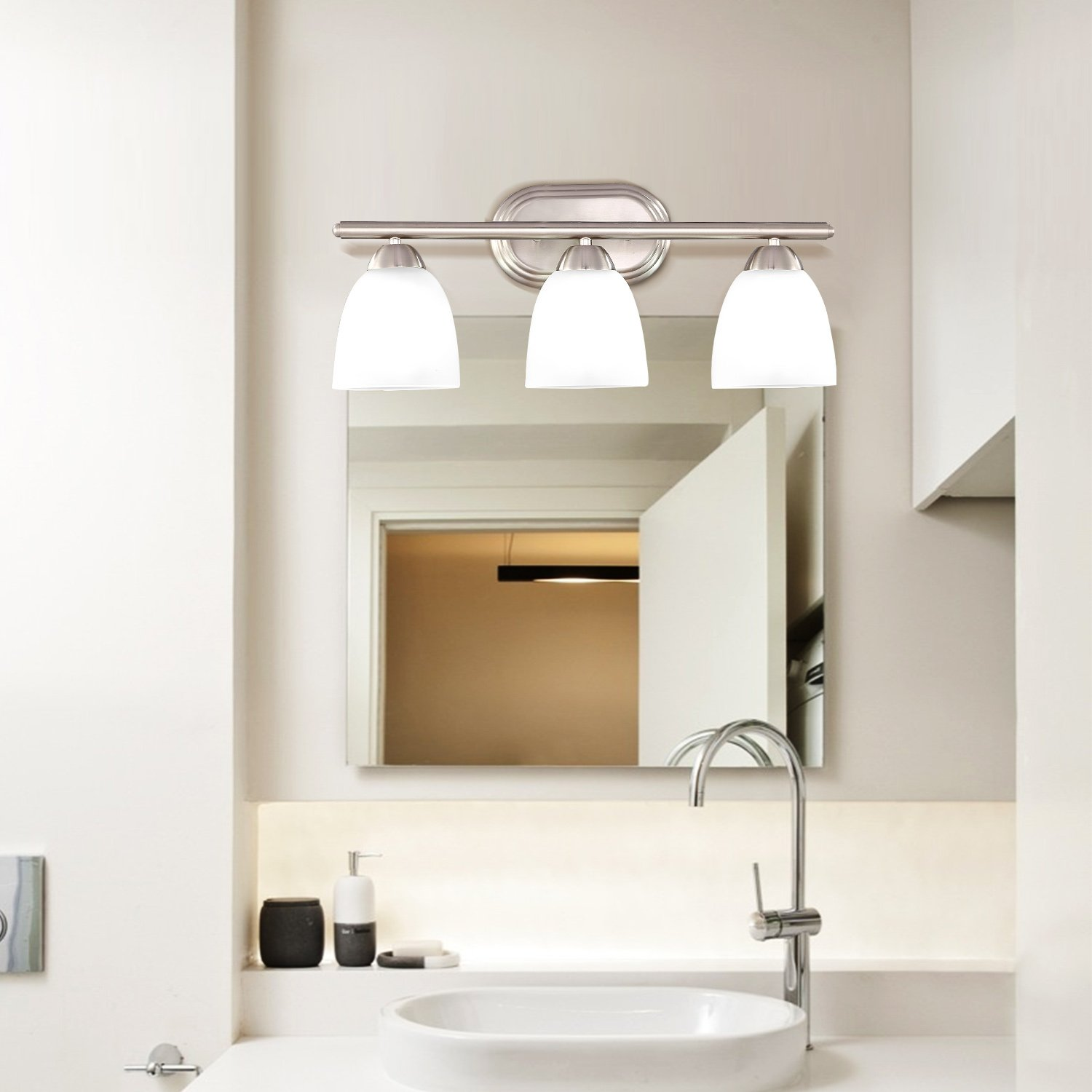2-Light Bath Interior Lighting EPOWP Wall SconceLight Fixture Brushed Nickel with Frosted Glass Shade
