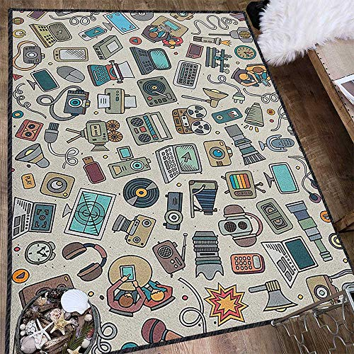 Doodle Silky Smooth Bedroom Mats,Complation of Various Office Gadgets Recorder Tv Laptop Monitor Tablet Switch Mouse Multicolor & Anti-Skid Multicolor 71