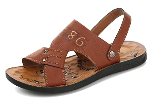 5e46f9cdc Femaroly Summer Sandals Outdoor Leisure Men s Beach Shoes Open Toes Slippers  Brown 6M