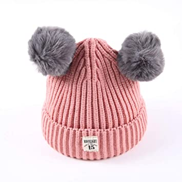 ddb25a877ea82c Amazon.com: Fheaven (TM) Winter Baby Slouchy Beanies Hats Real Fur Pom Pom  Cable Knit Hat Ski Caps (Pink): Beauty