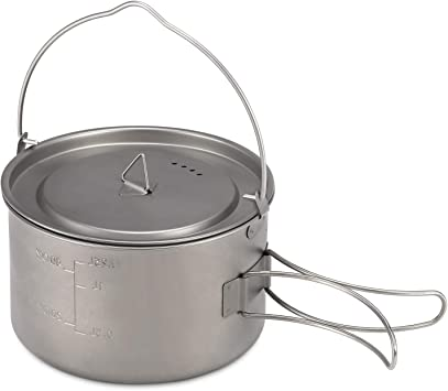Walmeck 1.25L Titanium Pot Portable Ultraligero Camping Titanium Pot con Asas Plegables para Acampar al Aire Libre Senderismo Mochilero Picnic Equipo ...