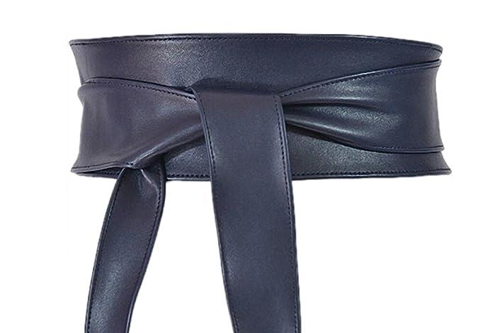 24b8443ec6e4 Blue NAVY obi belt, UK leather tie belt - sash belt: Amazon.co.uk ...