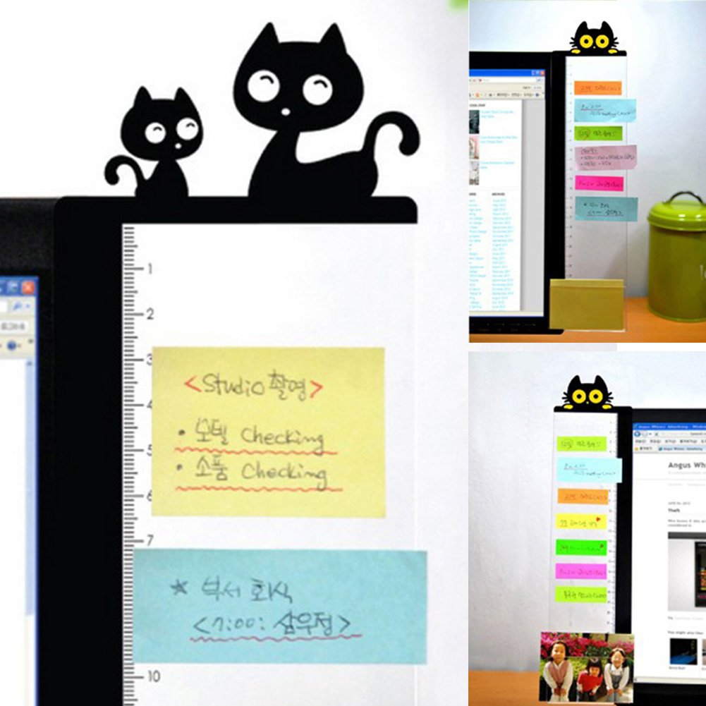 Owl Monitor Sticky Note Holder,Cat Kitty Computer Monitor Side Panel Multifunction Memo Pad Message Board Sticky Notes Right 2,Kitty