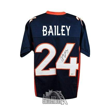 the latest 59319 1e399 Signed Champ Bailey Jersey - Custom Blue BAS COA - Beckett ...