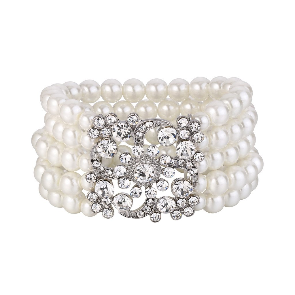 BriLove Women's Vintage Inspired Gatsby Style Crystal Simulated Pearl Stretch Bracelet Clear Silver-Tone by BriLove