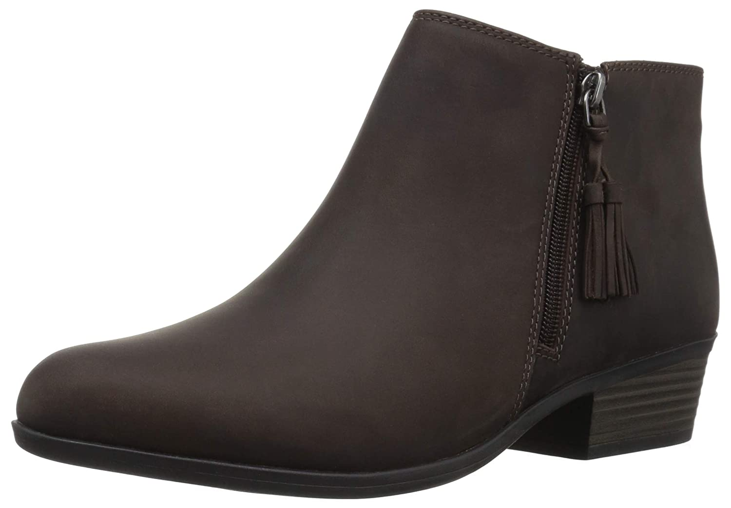Taupe Leather Clarks Womens Addiy Terri Boots