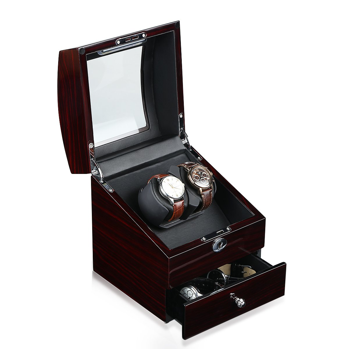 CRITIRON Luxury Automatic Dual Watch Winder with Drawer, Wood Rotating Watches Display Storage Case Box with Lock, Brown