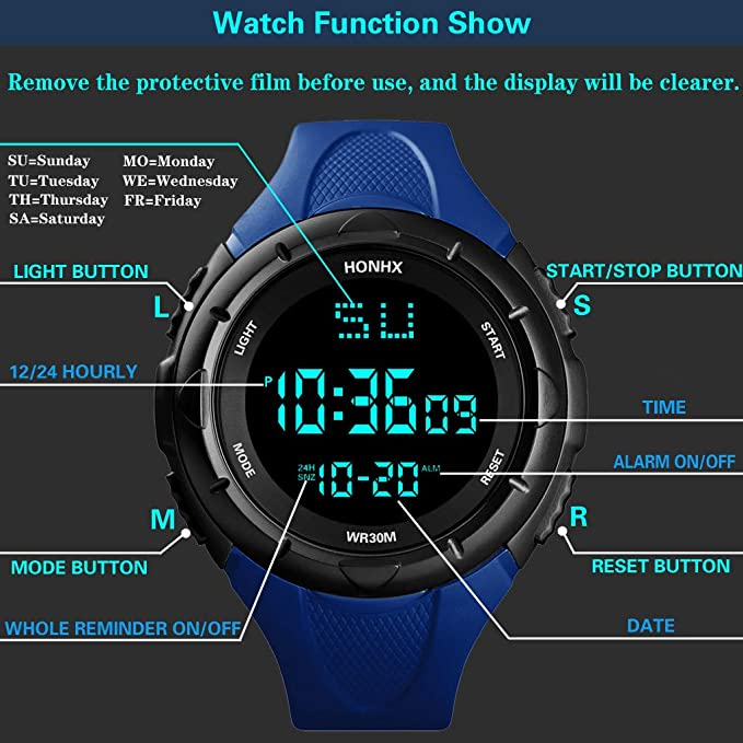 Javpoo HONHX Hombre Reloj Digital LED Fecha Deporte Hombres Reloj ...
