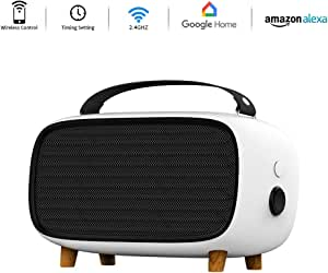 Panamalar Smart Desk Heater, 500W Electric Fan Heater with Adjustable Thermostat, Remote Control with Alexa for Voice Command, Tip-Over and Overheat Protection, Suitable for Office Home