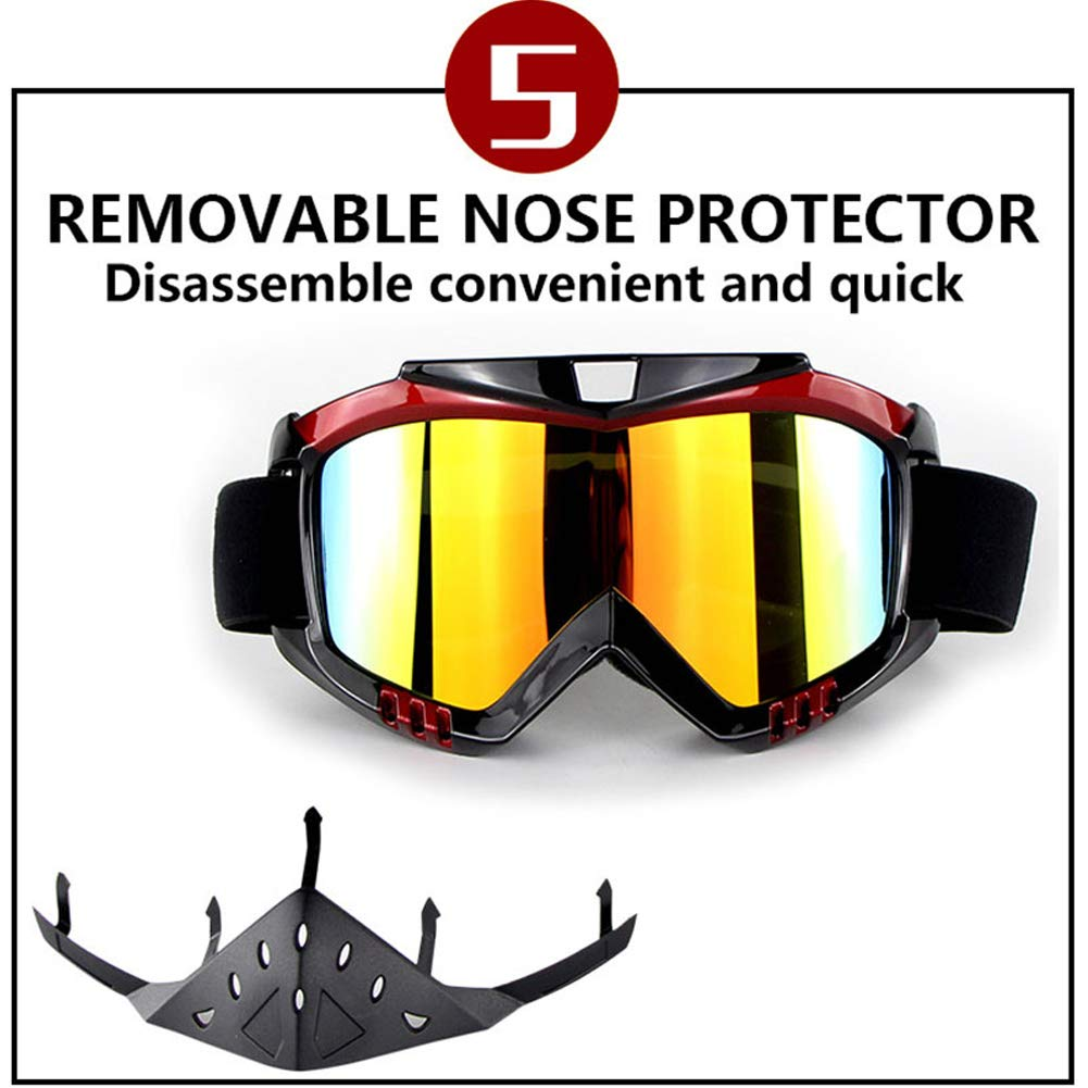 SUNMKY Motocross Cross-Country-Brille Outdoor-Reitwindschutzbrille mit Nasenschutz,001-OneSize