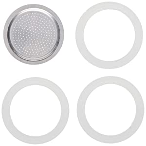 Packing 3 gaskets and 1 filter for aluminum coffee pot 1 cup