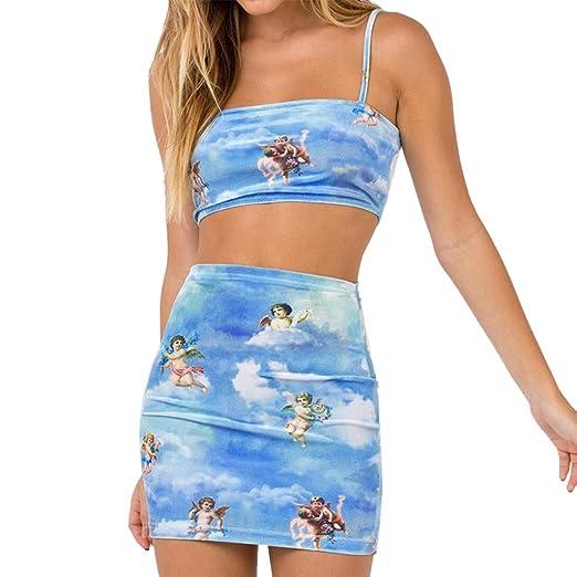 69bf7fe8c1 Amazon.com: poedkl Women Skirt Little Angel Print Top Skirt Suit Two-Piece  Set Small Angle Print Short Top T-Shirt: Clothing