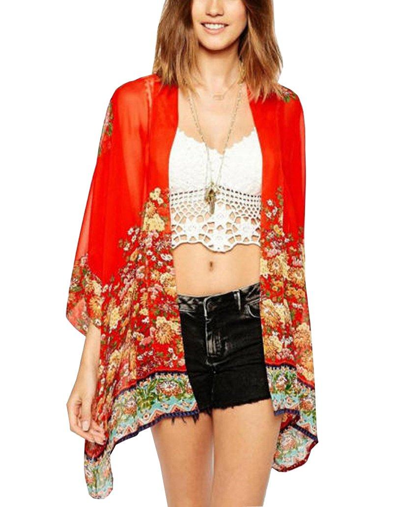 Wiwish Women's Floral Print Sheer Chiffon Loose Kimono Cardigan Blouse Top