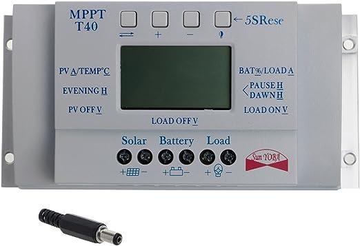 Mppt 40 A LCD Solaire Régulateur de Charge Photovoltaïque 12v//24v pour Panneau