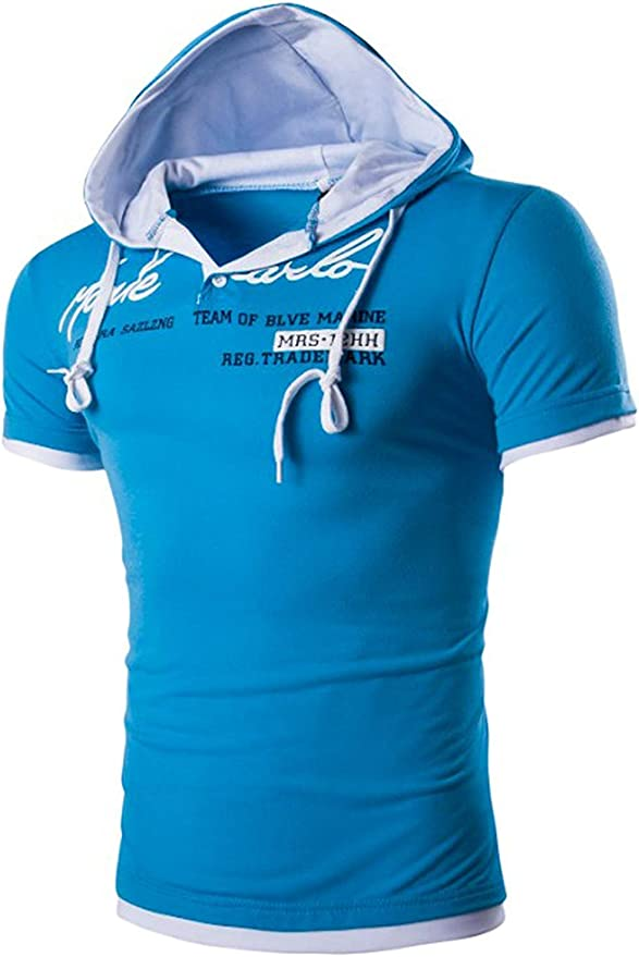 Camiseta De Manga Corta para Hombre Camiseta B/ásica Mode De Moda De Marca para Hombre con Capucha Estampada Sudadera con Capucha Deportiva para Entrenamiento con Capucha