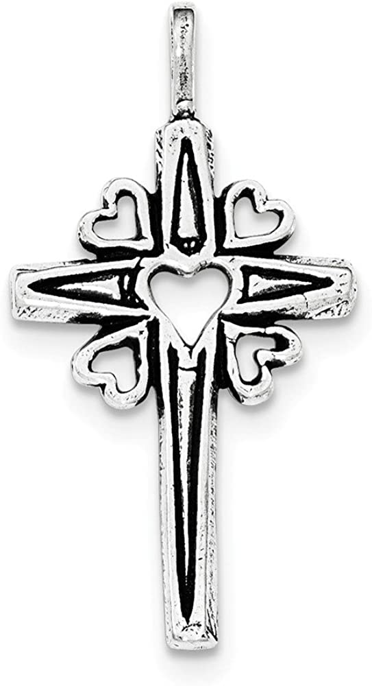 .925 Sterling Silver Antiqued Hearts & Rays Celtic and Iona Cross Charm Pendant