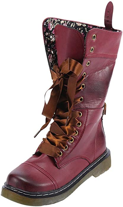 BURFLY Classic Retro Boots for Women Ladies, Mid-Calf Brogue Biker Boots, Vintage Rivets Leather Round Toe Lace-Up Riding Boots, Size 3-7 UK Red: Amazon.co.uk: Shoes & Bags