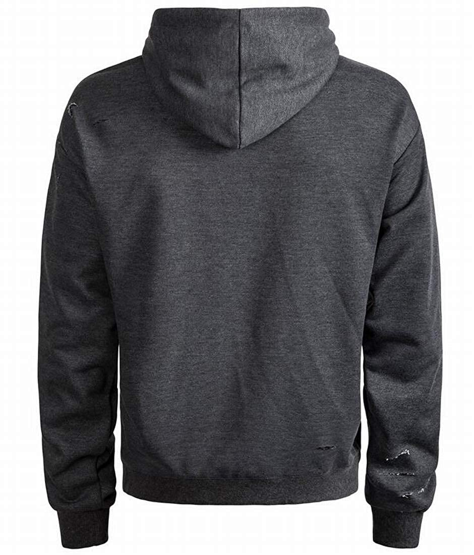 Nanquan Men Pullover Tops Plus Size Ripped Hooded Casual Sweatshirt