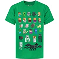 Minecraft Sprites Boys Kids Green Characters Short Sleeved T-Shirt 9-10 Years