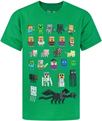 Minecraft T-Shirt Boys Kids Sprites Green Characters Short Sleeve Game Top 5-6 Years