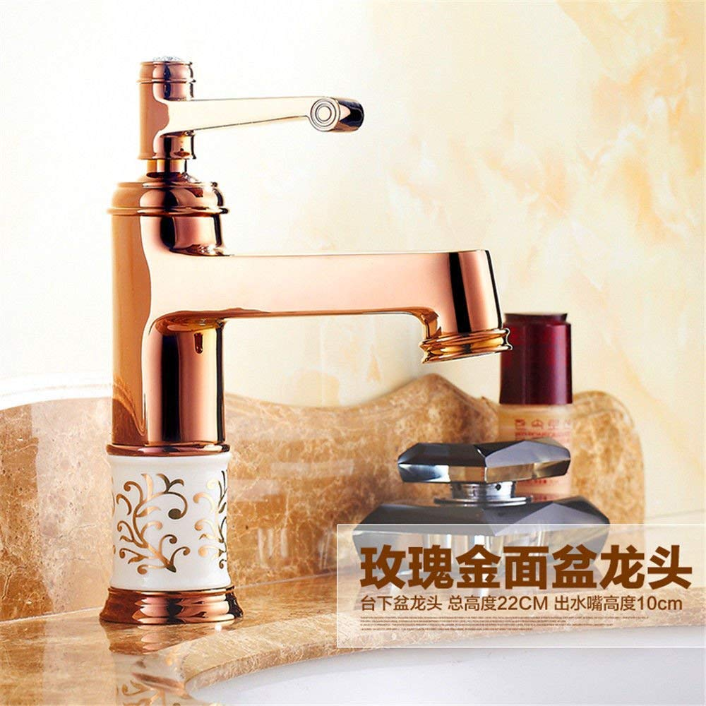 Oudan Kitchen sink mixer tap solid brass sink basin mixer tap ceramic hot and cold water kitchen sink basin mixer tap (color   -, Size   -)