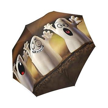 Funciona con energía solar paraguas Halloween unisex con revestimiento de teflón resistente al viento paraguas de
